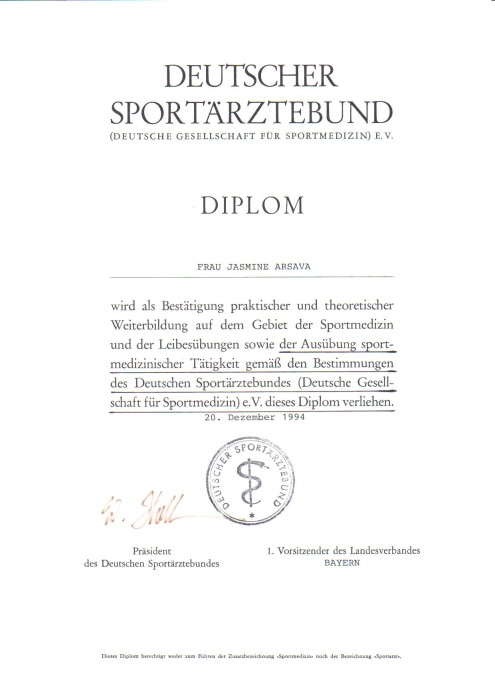 Allgemeinmedizin Müller Arsava -Zertifikate